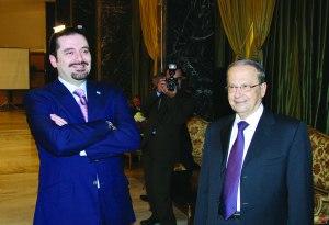 عون والحريري في إحدى جلسات الحوار الوطني